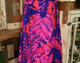 60s 70s xs Hawaiian dress in phychedelic colors summer tropical boho hippy maxi