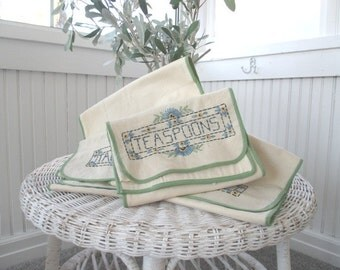 Vintage * Forks * Knives * Teaspoons * Tablespoons * Embroidered Cloth Holders