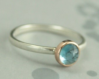 London Blue Topaz Ring--Bezel Set Rose Cut Stone--Modern Silver and Rose Gold Blue Topaz Ring--Rose Cut 6mm Blue Topaz Ring