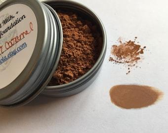 Goat Milk foundation caramel | Buttermilk + Aloe | large 30g jar | full coverage powder safe Mineral Makeup blend with moisturizer