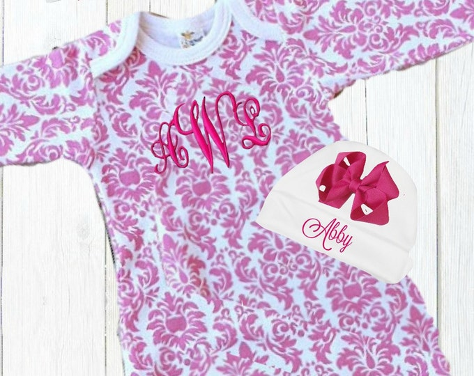 Pink and White Damask Personalized Coming Home Baby Gown for Girl, Pink Monogrammed Baby Girl Gown