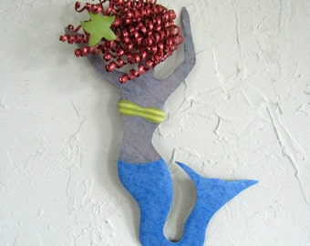 Metal Wall Art Dancing Mermaid Sculpture Recycled Metal Wall Marine Decor Redhead Cobalt Blue Beach House Coastal Bathroom Decor 8 x 12