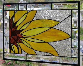 ABSTRACT SUNFLOWER Stained Glass Window Panel (Signed and Dated)