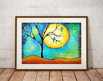 Whimsical Tree Print, Tree of Life Art Yellow Full Moon Abstract Landscape Woodland Living Room Decor