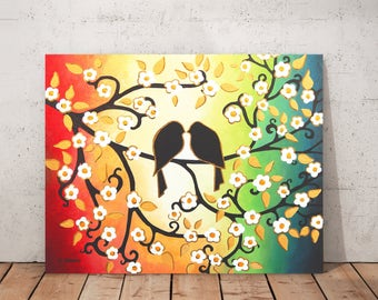 Original Love Bird Painting on Canvas Blossom Tree Branch Wall Art Wedding Gift for Couple Bedroom Decor