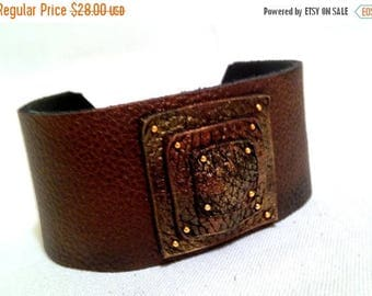 40% OFF SALE Copper color leather bracelet Fashion wide women's Leather Jewelry Cuffs  Wrist Bands for Women