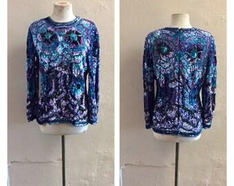 Floral Sequined Blouse - silk sequined top - sparkle - 1980's vintage - formal - designer Black Tie - aqua top - lavender top - troppobella