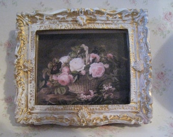 Dollhouse picture, tatty chic, miniature picture, gold trimmed picture, Victorian Roses,  Basket of roses, , a dollhouse miniature