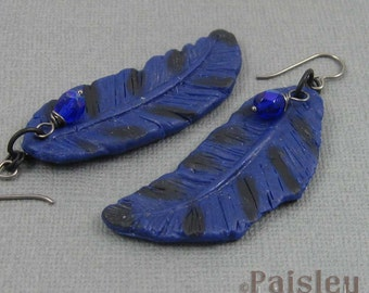 Blue Jay Feather Earrings, blue black polymer clay dangles on black wires