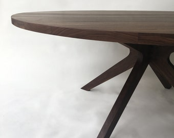 "Contemporary Modern Solid Walnut Round Dining Table with Modern Sculptural Solid Walnut Legs - 75"" - Seats 6-8"
