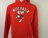 Vintage BUCKY BADGER UW Wisconsin hoodie sweatshirt 1980's large made in usa sleeve print