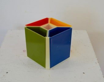 Vintage PLASTIC CUBE Desk Organizer 1970's retro made in hong kong