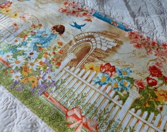 Childrens Garden Fabric Ribbon with French Accents -  57 Inches In Length