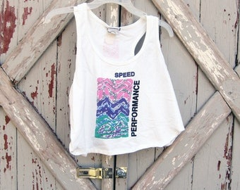 1980s rad Aerodynamics Performance crop top tank M L XL