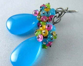 25OFF Turquoise Blue Chalcedony and Jade Cluster Sterling Earrings