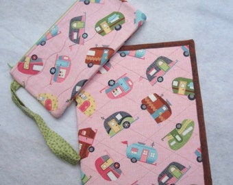 Retro Camper Notebook and Wristlet Quilted notebook