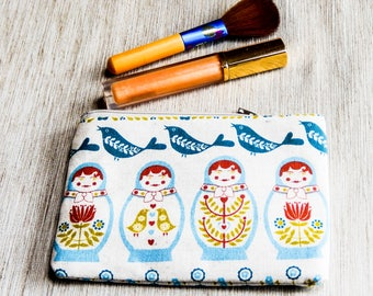Fabric Pouch, Zipper Pouch. Coin Purse, Change Purse, Cute Pouch, Matryoshka doll Pouch, Pouch, Gift for Mom, Gift for Her, Make Up Bag