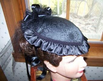 Ladies Civil War Hat Victorian with matching reticule,Black teardrop with Black Satin ruffle costume