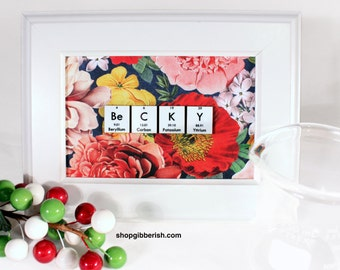 Chemistry Name-Sign//Floral Designs//Personalized Science Gift//Gift Idea