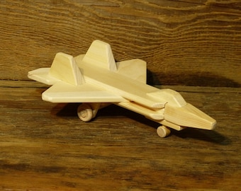 Handmade Wood Toy F-22 Jet plane Airplane Wooden Toys Eco Friendly Natural  Woodworking