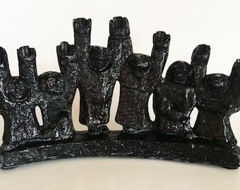 "Chaim Gross attributed vintage mid-century modern cast metal ""Family"" menorah Judaica"