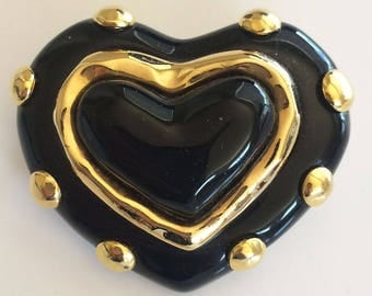 Vintage Carolee Black with Gold Heart Brooch/Pin