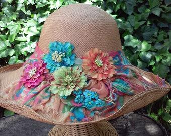 Flirty  Floral Spring Straw Hat