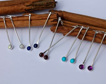 Long silver stone earrings. Pop Of Color. Mothers Day. Turquoise. Garnet. Citrine. Emerald. Moonstone. Amethyst. Mother of Pearl. Opal. Onyx