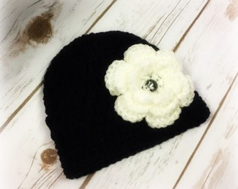 Crochet Hat with Flower Options/Baby/Newborn/Flowers/ Exchangeable Flowers/Toddler/Headwear/Baby Hat (Ready to Ship)