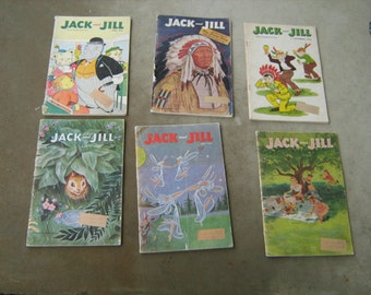 lot of 6 1950s Jack and Jill children magazine