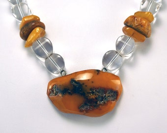 Amber Pendant Necklace   Natural Baltic Amber and Crystal Quartz Necklace   Amber and Quartz Necklace   Amber Nugget  