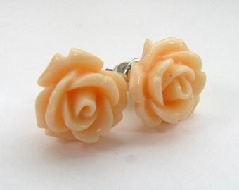 Rose Stud Earrings Rose Peach Earrings Rosebud Earrings Hypoallergenic Studs Surgical Steel Stud Earrings