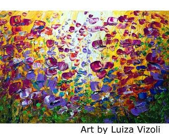 Original Painting on Large Canvas Purple Violet Flowers Field 36x24 canvas ready to hang