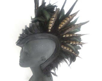 Warrior Feather Headpiece,Shaman Headdress,feather mohawk,wing headpiece,festival headpiece,Burning man: Renegade Icon ;Rara Avis Collection