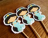 Jasmine Party - Set of 12 Jasmine Cupcake Toppers by The Birthday House