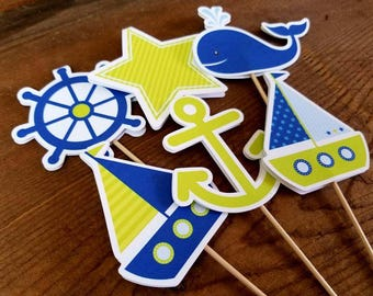 Nautical Birthday Party - Set of 12 Double Sided Assorted Lime & Blue Nautical Cupcake Toppers by The Birthday House