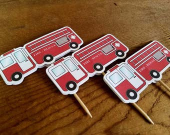 Fire Truck Party - Set of 12 Fire Truck Cupcake Toppers by The Birthday House