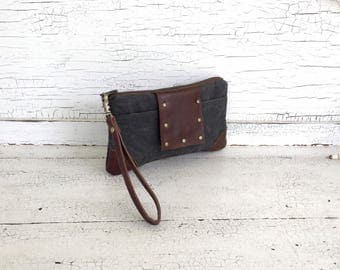 Gray Waxed Canvas &  Leather Smartphone Wallet, Wristlet, Clutch, Organizer, iPhone 7 Plus Wallet
