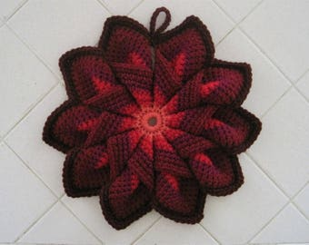 Crocheted Large Hot Pad/Trivet - Dazzling Sunset