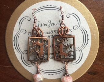 Vintage clip to Pierced Earrings of Copper and Pink Opal