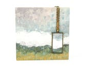 Art Love Gift Set: Landscape Painting on Wood Block with Pendant - One of a Kind Gift Ideas - Original Art
