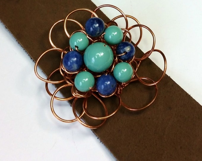 Copper Wildflower Wire Flower on Earthy Leather Cuff