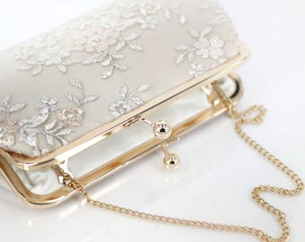 Champagne Embroidery Tulle Lace Bridal Clutch in Ivory 8-inches | Ready to Ship
