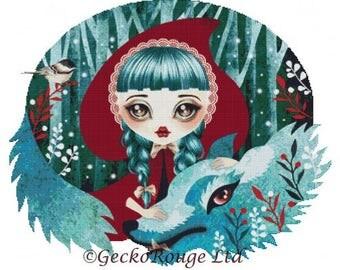 Fairytale Cross Stitch, Counted Cross Stitch Kit, Little Red Riding Hood by Sandra Vargas, Modern Cross Stitch, Point De Croix, Wolf Art