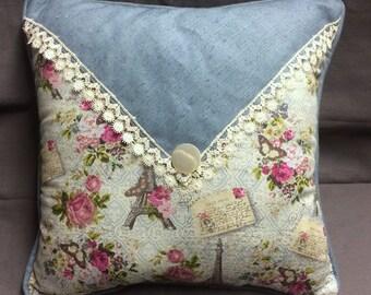 PaRis ApRtMeNt Chic Envelope Pillow with Vintage Lace and Vintage Shell Button, PaRis Cotton Pillow