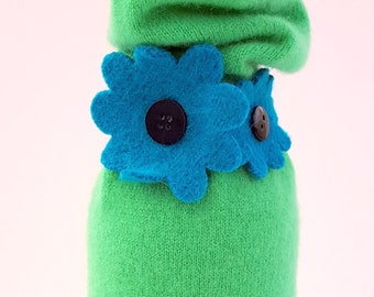 Wine Bottle Cover - Recycled wool sweaters - Bright Green Cashmere Gift Bag with Turquoise Flower Tie