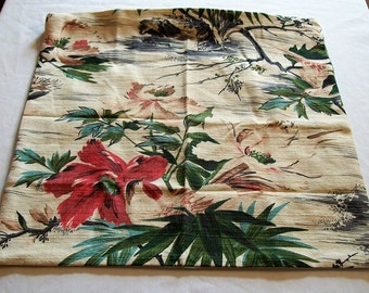 Vintage Barkcloth Pillow Cover, Floral Barkcloth,  50's Barkcloth Fabric, Vintage Throw Pillow