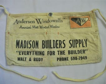 Canvas Nail Apron, Andersen Windowwalls, MADISON Builders Supply, lumber yard apron, Walt & Ruby, Vintage Nail Apron, Carpenters Apron
