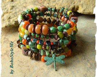 Boho Bracelet, Earthy Natural Wrap Bracelet, Colorful Layered Bracelet, Unique Boho Style Jewelry, BohoStyleMe, Kaye Kraus
