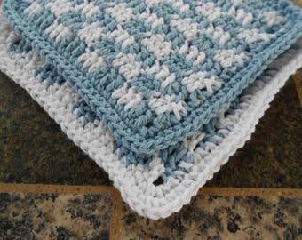 Crochet Cotton Kitchen Dishrags, Light Blue Gingham Dishcloths, Small Dishcloth, Blue and White Dishcloths, Cottage Chic